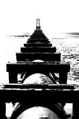Sea View (oskareel) Tags: sea blackandwhite beach contrast pipeline crosby crosbybeach