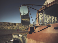 the mileage of a memory (Jo-H) Tags: washington truck vintage mirror reflection nostalgia americana americanwest patina rust desert railroad