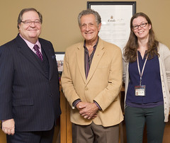 Photo of Mr. Guy Berthiaume (left) with Ronald I. Cohen (centre) and Meaghan Scanlon (photo by Tom Thompson) / De gauche à droite : Guy Berthiaume, Ronald I. Cohen et Meaghan Scanlon. Photo : Tom Thompson (BiblioArchives / LibraryArchives) Tags: lac bac libraryandarchivescanada bibliothèqueetarchivescanada canada literature littérature lucymaudmontgomery collection anneofgreengables guyberthiaume ronaldicohen meaghanscanlon tomthompson 2016 ottawa ontario