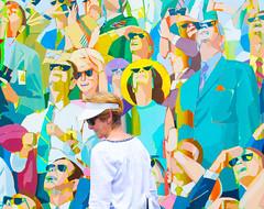 PI3A1106 Real Art (EJK41) Tags: people art sunglasses painting crowd lookingup lookingdown realart mulitcolor