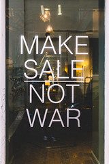 Make sale, not war (lorenzoviolone) Tags: italy roma store stickers streetphotography finepix fujifilm streetphoto sales lazio 400h fav10 mirrorless vsco vscofilm streetphotocolor fujix100s x100s fujifilmx100s walk:rome=july102016