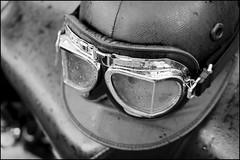 Corker and goggles (Eric Flexyourhead) Tags: bw canada bike vancouver blackwhite bc britishcolumbia cork helmet goggles motorbike motorcycle allbritishfieldmeet vandusenbotanicalgarden corker 2013 abfm panaleica25mmf14 leicadgsummilux25mmf14asph olympusem5 corkhelmet
