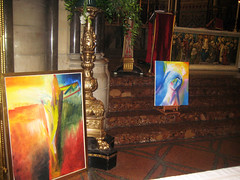Paintings in St James's Church by Stephen B Whatley. 2013 (Stephen B Whatley) Tags: art church leaves gold mary jesus paintings steps altar expressionism marble mass sanctuary crucifixion masses lecturn blessedvirginmary blueribbonwinner churchinterior passionofchrist abigfave ourladyqueenofpeace stephenbwhatley artiststephenbwhatley stjamesschurchspanishplace paintingsfromprayer stjamesschurchsanctuary