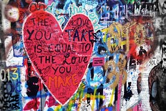 the love you take is equal to the love you make. (martina;) Tags: trip muro wall graffiti colours heart prague murales cuore
