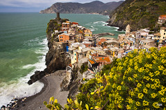 Vernazza from above-Cinque Terre (Explore 5/26) (doveoggi) Tags: flowers sea italy beautiful coast mediterranean waves explore serene cinqueterre 2892 bestcapturesaoi elitegalleryaoi