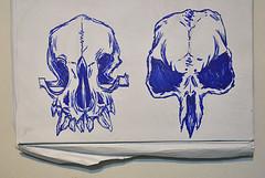 Skulls (Marcos D. Torres) Tags: blue bw dog india white man black guy bird girl illustration pen pencil ink paper dead skull sketch cool wolf blu sketching lion sketchbook ill gal marker illustrator sharpie sketches marcos caveira ilustração rambo torres ilustrador shading caveirismo skullism