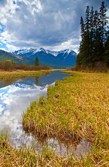 Fortunate Or What! (stevenbulman44) Tags: park cloud mountain lake snow color reflection tree water grass weather canon nationalpark spring tripod filter alberta banff gnd 2470f28l