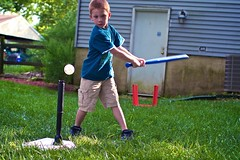 Andrew Practices Hitting on the Tee (Michael Bentley) Tags: backyard baseball andrew playtime tball canonef35mmf14lusm
