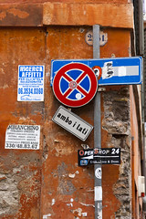 2013021200212 (robertsladeuk) Tags: road street city italy signs rome sign poster outside outdoors daylight italian europe european day exterior notice outdoor posters daytime oneway notices zzzflickrmp robertmanorphotographycom