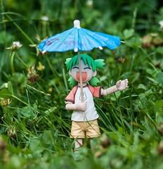 Rain in the woods (Pasc_Lightyear) Tags: summer anime rain umbrella garden toy outside sony manga 85mm figure dslr yotsuba danbo revoltech
