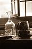 Old dishes and open window (u_sperling) Tags: window glass sepia schweiz switzerland bottle jar dishes ballenberg