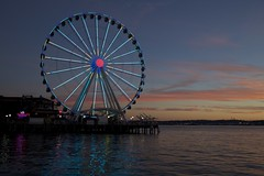 Ferris Wheel at sunset (Getting Better Shots) Tags: seattle sunset water downtown waterfront elliottbay