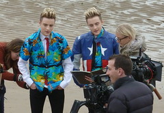 20131015 Jedward on Blackpool Beach (blackpoolbeach) Tags: camera irish beach john video edward crew blackpool grimes cbbc jedward jedwardsbigadventure
