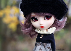 Secret talent (pure_embers) Tags: uk autumn red brown black colour cute girl closeup eyes doll dolls dress sweet bokeh stock sadie lips planning wig modified pullip luts beret pure jun embers rosy obitsu rosybrown stica pureembers noainclouds