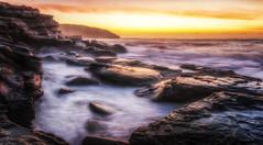 Sanitarium (Puresilk Images (AWAY)) Tags: ocean sun seascape beach water rock sunrise canon dawn bay coast central sigma australia nsw splash 18 dawning centralcoast heights putty headland 1835 maitland killcare barranjoey 70d bouddi eos70d flickrbronzetrophygroup