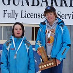 Ryan Moffat (right) and Zane Torres (left), Big White Racers, finish 1st and 2nd in Enquist Slalom at Apex PHOTO CREDIT: Derek Trussler
