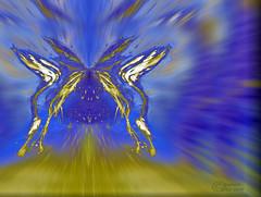 Sparkling butterfly (CaBAsk ♥Thank U for visiting ♥) Tags: blue abstract art ice norway digital photoshop butterfly freedom golden norge is wings foto kunst flight halo manipulation olympus aurora sparks sommerfugl abstrakt vinger blått gylden gnister frihet flukt