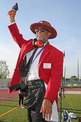 D104498A (RobHelfman) Tags: sports losangeles official track starter highschool hawkins trackmeet crenshaw leaguerelays jerryskinner