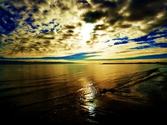 Tide (Tobymeg) Tags: blue sky sun beach clouds altered gold grey scotland image tide southerness