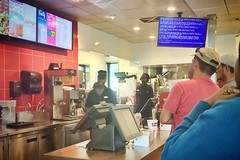 REBOOT! REBOOT! (Lee Bennett) Tags: computer menu restaurant crash bluescreenofdeath wendys bsod