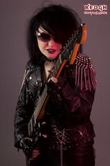 IMG_5267 (Neil Keogh Photography) Tags: black girl sunglasses rock metal silver punk purple pants guitar fender corset collar cuffs electricguitar fenderjaguar studioshoot borderfx modelhannah spikedbra