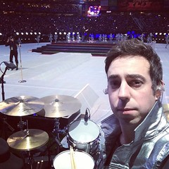 Could you ask for a better seat to watch the Super Bowl? Congratulations to @adam.marcello on playing the gig of a lifetime!! Q Drum Co wouldn't exist without the persistence of Adam. Thank you. #qdrumco #katyperry #qdrumco @zildjiancompany @remopercussio