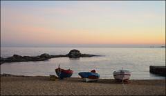 Evening stillness (angelsgermain) Tags: winter sea sky beach boats evening sand rocks mediterranean dusk horizon catalonia costabrava calelladepalafrugell baixempordà catalunyala