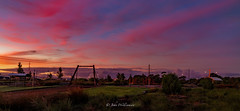 Play in the early light (johnwilliamson4) Tags: blue red playground clouds sunrise landscape outdoor australia adelaide southaustralia flyingfox pelicanpoint