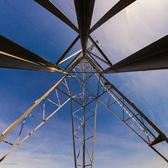 Crossing lines (mkdaily) Tags: blue sky lines metal power symmetry fisheye samyang8mm