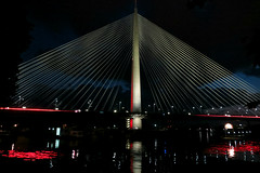 Ada bridge (queenoftheclouds) Tags: bridge red art beautiful architecture night lights ada serbia