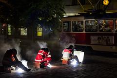 Prague - Arc welders at work (dominique cappronnier) Tags: city night work republic czech prague arc welder