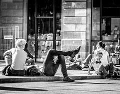 Relax Strasbourg City 1 (lassana.dou) Tags: street city shadow bw sun streetart art window blackwhite kid downtown exterior graphic sunny nb strasbourg batman rue sujet centreville noirblanc concret pavment urbanpicture