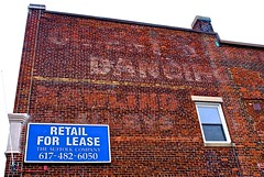 Dancing. Bowling. (D. Brigham) Tags: building brick architecture advertising dancing bowling ghostsign eastboston orientheights