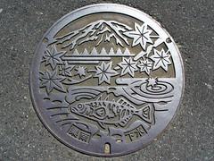 Sunami Gifu, manhole cover  (MRSY) Tags: mountain fish japan leaf  manhole  gifu    sunami