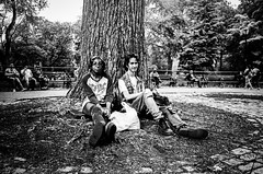 Kids are alright. Manhattan (velocityzen) Tags: park street portrait blackandwhite bw newyork film kodak tmax iso400 28mm skate skateboard bandw ricoh f28 gr1v ricohgr1v filmaintdead