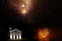 Fuochi e Chiesa di Sant'Ampelio - composizione di 3 foto (mareblu2013) Tags: fireworks notte notturno bordighera fuochi santampelio