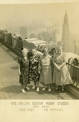 Women at the Rockefeller Center Roof Studio, New York City, June 4, 1952 (Alan Mays) Tags: old newyorkcity ny newyork portraits vintage buildings souvenirs clothing women photos patterns rockefellercenter ephemera clothes photographs dresses 1950s views postcards chryslerbuilding studios topoftherock 30rock 1952 foundphotos gebuilding june4 theslab rppc 30rockefellerplaza observationdecks souvenirphotos realphotopostcards roofstudios