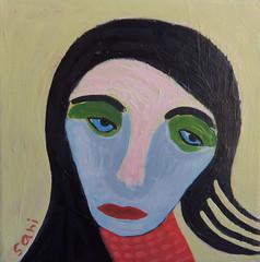 "#1327 ""Girl"" (sariart2) Tags: original abstract art girl painting acrylic raw folk outsider ooak naive sari primitive childlike azaria noy"