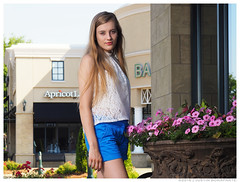 Emma - Eyes Wide Open (jfinite) Tags: flowers summer beauty fashion model environmental portraiture shorts sheer