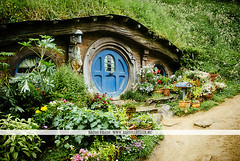 Hobbit house, New Zealand (Naomi Rahim (thanks for 2 million hits)) Tags: newzealand nz 2016 northisland hobbiton travelphotography travel hobbitonmovieset lotr lordoftherings nikon nikond7000 wanderlust landscape house home movie door architecture green hill h