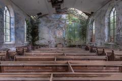Eglwys Glas a Gwyrdd (Cyber House) Tags: abandoned church nikon decay exploring religion chapel derelict pews hdr ue urbex photomatix cyberhouse eglwysglasagwyrdd blueandgreenchurch