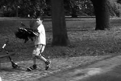 Olympus Mju II - Boy with Leaves (Kojotisko) Tags: bw streetphotography brno creativecommons czechrepublic streetphoto rodinal fomapan100 mju2 olympusmjuii