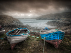 Two Cuidhir Boats (The Unexplored) Tags: isleoflewis outerhebrides eileansiar westernisles scotland scottish seashore loch leurbost small boats vessels nikon nikkor 1685mm 3 shot hdr lightroom photomatix photoshop tonemapped tonemapping fog foggy misty highdynamicrange thegrimgit grimgit unexplored theunexplored