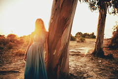 L E A (Arnaud Moro) Tags: sunset 2 art colors girl beauty fashion 35mm canon model warm long dress mark 14 corsica young sigma blond ii 5d eucalyptus hairs