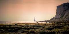 Beachy Head Lighthouse (Kiwi Tom) Tags: sunset sea england sky lighthouse beach landscape sussex cliffs beachyhead tomhall