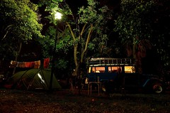 Camping at the city camspite of Sevilla in the suburb Dos Hermanos [Sevilla] (babakotoeu) Tags: car jeep offroad 4x4 toyota land series 40 landcruiser cruiser troopy bj40 40series bj45