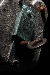 Padlock And Key. (1selecta) Tags: padlock old ancient rusted rusting corrosion corroded corrode rust metal grey brown green black dark shadow key hole inserted