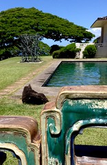 Mingled Shapes, Mingled Greens & Blues (ggppix) Tags: ceramic tiles china 1879 bronze stick sculpture pool roark 1984 sculptor charlesarnoldi monkeypod sky pacific ocean honolulu museum art spaldinghouse rectilinear tree pithecellobiumsaman tile chinese green blue hawaii oahu