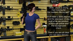 SEE HOW EASY THAT WAS? (alexandriabrangwin) Tags: world june america computer store 3d check orlando graphics gun message florida background political rifle social security rifles assault lazy secondlife virtual rights second shooting laws cgi commentary amendment 2016 merica murica alexandriabrangwin