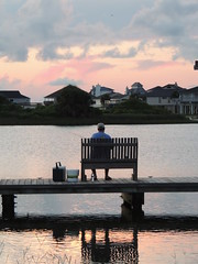 Bench At Sunset - HBM!!! (maorlando - God keeps me as I lean on Him!!) Tags: sunset man bench pier fishing fisherman dock lagoon reflective galvestontx westendofisland explored20262716